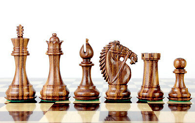 "Wooden Chess Set Pieces Golden Rose Wood Rio Staunton 4"" + 2 Extra Queens"
