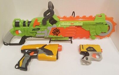 Used Nerf Zombie Strike Brainsaw Blaster  Fully Tested And Working Lot Of 3 Nerf