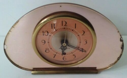 Seth Thomas Sequin Rose Mirrored Art Deco Electric Clock No Chips