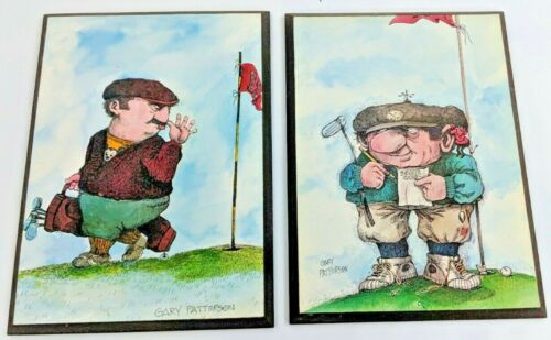 "Gary Patterson Golf Print Pictures 18th Hole Mounted 8"" x 11"" Set Of 2"
