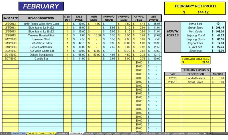 eBay 12 Month Auction Accounting Sales Profit & Expense Excel Spreadsheet CDROM