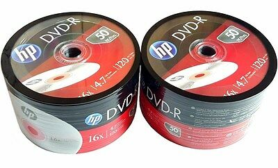 100 Hp Blank Dvd R Dvdr Recordable Logo Branded 4 7Gb 16X 120Min Media Disc