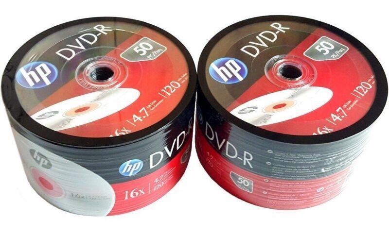 100 Hp Blank Dvd-r Dvdr Recordable Logo Branded 4.7gb 16x 120min Media Disc