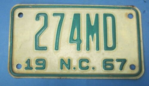 1967 North Carolina motorcycle license plate never used