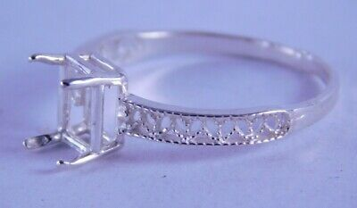 6292 STERLING SILVER RING SETTING FILIGREE 8X6 MM EMERALD CUT, SIZE -