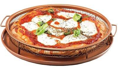 Gotham Steel Round Copper Air Fry Crisper Tray, Pizza & Baking Pan, 2 Piece -