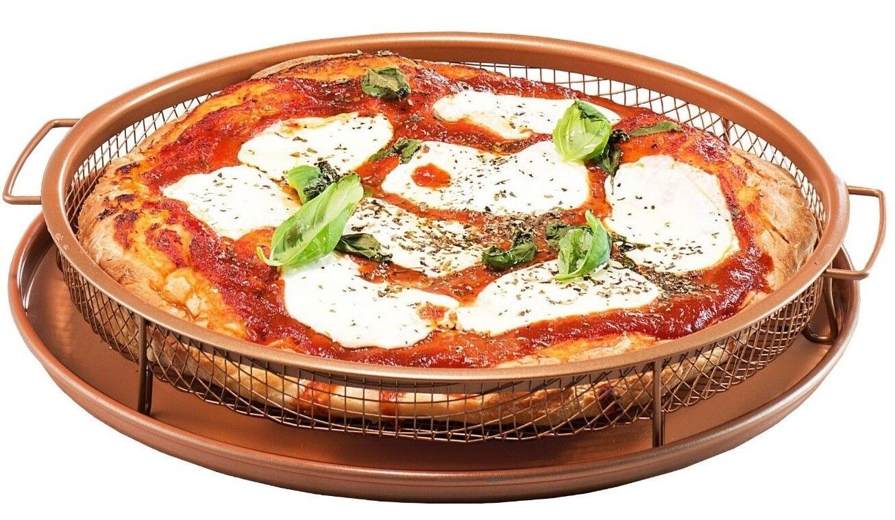 Gotham Steel Round Copper Air Fry Crisper Tray, Pizza & Baki