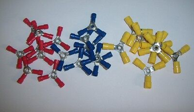 10 Butt Connector - (15) 3 Way Wire Butt Connector Red Blue Yellow Vinyl 12-10 16-14 22-18 Gauge AWG