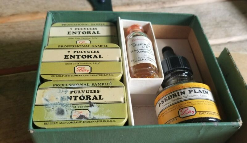 Eli Lilly Professional Sample Kit Complete W/ Entoral Pulvules Tins And Bottles