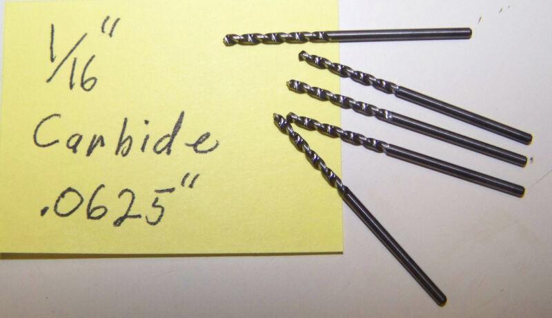 """NOS 1/16""""  1/16 inch  .0625"""" Solid Carbide Twist Drill Fast Spiral"""