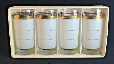 Vintage Frosted Glass Tumblers with Gold, Set of 4 in Box
