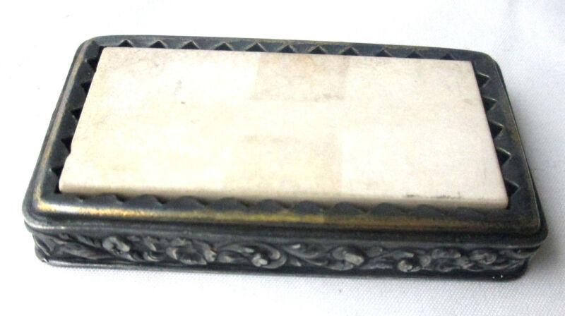 Scissor & Knife SHARPENER Stone, silver plate Original ANTIQUE c1903