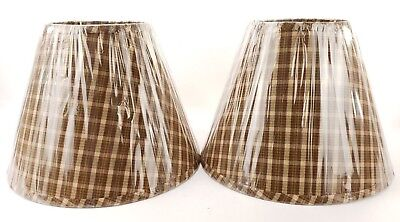 """New Home Collections Set 2 Raghu Westbrook Plaid Lampshade 16"""" lamp shade"""