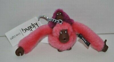 Kipling Sven Baby Monkey Keychain keyring key fob charm ac3693 coral pink NEW