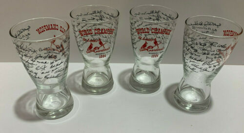 Vintage 1964 World Series Champions St Louis Cardinals Beer Glass lot of 4