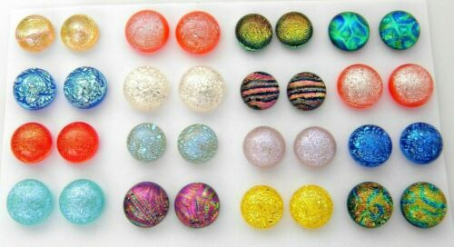 FOR POST EARRINGS TINY Lot 32 pcs round gorgeous DICHROIC FUSED GLASS (BB3) CABS