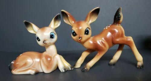 Adorable Set of Vintage Larger Hard Plastic Big Eyes Deer Fawns