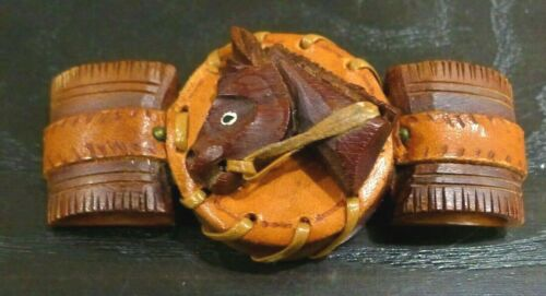 VINTAGE HAND CARVED WOOD HORSE W/ TOOLED LEATHER WESTERN BROOCH PIN