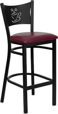 Lot Of 6 Black Coffee Back Metal Restaurant Bar Stool - Burgundy Vinyl Seat