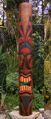 Tribal Tiki Bar Ku Hawaiian Style Wood Mask Wall Patio Tropical Bar Decor 60