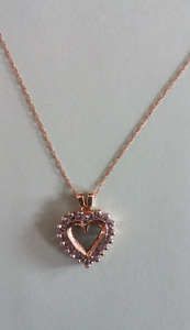 14k gold necklace with 10K heart pendant