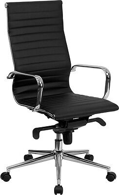 Lot Of 4 Black Leather High Back Conference Room Table Chairs Polished Base New