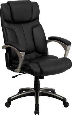 Black Leather High Back Folding Home Office Desk Task Chair Fits Under Your Desk