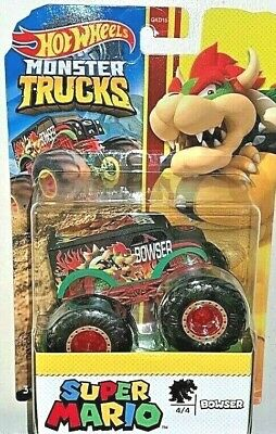 HOT WHEELS 2020 MONSTER TRUCKS SUPER MARIO BOWSER #4 OF 4 WITH GIANT WHEELS NEW!