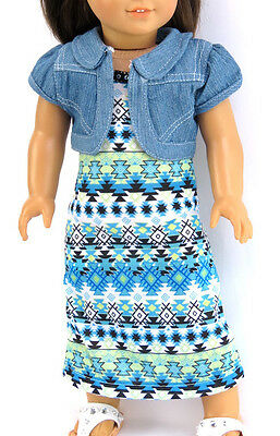 "For 18"" American Girl Doll Clothes Cute 2 Piece Tribal Dress & Jacket Outfit"
