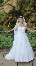 Unique Glamorous Designer Wedding Dress, size 6