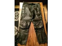 Mens Leather motorcycle trousers 32