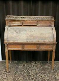 Beautiful Hand carved wood roll top desk