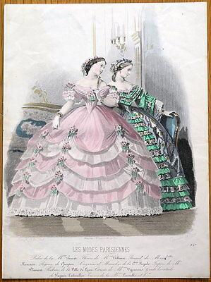 LES MODES PARISIENNE, PARIS FASHION plate 927 antique hand coloured print 1859