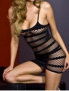 Women's Sexy Black Fishnet Lingerie Dress