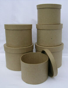 QUALITY-Round-Paper-Mache-Boxes-Qty-6-3-in-1-Tier-Brown-Papier-Mache