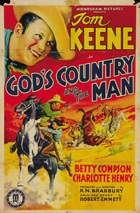 Gods-Country-and-the-Man-1937-Tom-Keene-Western-Cult-movie-poster-print