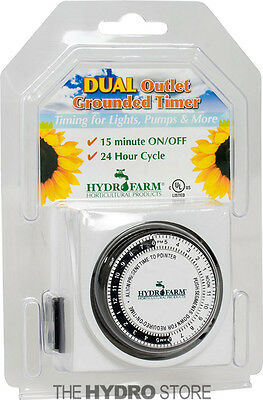 Hydrofarm Dual Outlet Grounded Timer