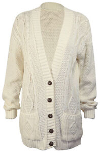 New Womens Long Sleeve Button Top Ladies Chunky Aran Cable Knit Grandad Cardigan