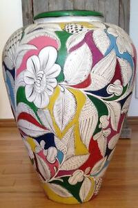 Large Hand Painted Mexican Decorative Vase