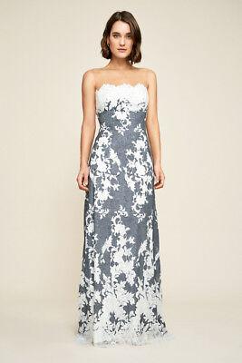 TADASHI SHOJI Navy Ivory Myrna Floral Lace Stretch Sheer Illusion Neck Gown 14