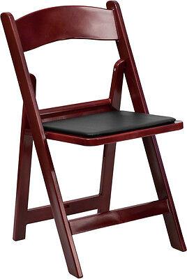 100 Pack Mahogany Resin Folding Chair Black Vinyl Padded Seat - Wedding Chairs