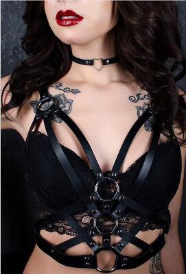 Women Fashion Punk Gothic Bra Leather Harness Belt Body Bondage Top Chest Straps