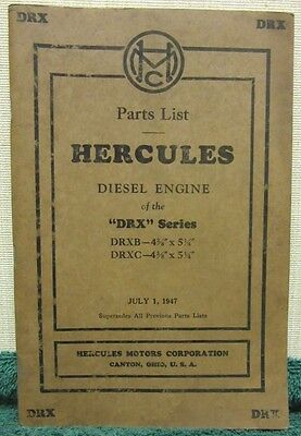 i 1947 Hercules Six Cylinder Diesel Engine of the DRX Series Parts List