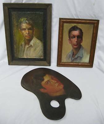 3 GEORGIA FOLK LIFE TIME ART SELF PORTRAITS OILS ON BOARD DAN C DICKERSON + ONE