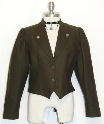 BROWN GREEN ?? ~ WOOL German Women Fitted Sport Riding Dress Suit JACKET 40 8 S