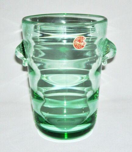 """HOLMEGAARD GLAS ~ Vintage Green Glass 6.25"""" VASE w/Scallop Side Grips ~ Denmark"""