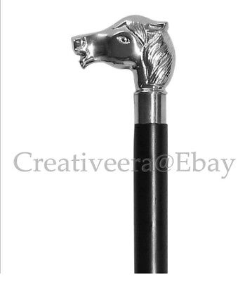 Vintage Style Horse Brass Handle Black Wooden Walking Cane Men's Stick designer