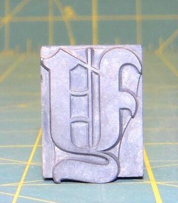 Large Letter Y Typeset Letterpress Block Old English 60pt. Rare Sizefont