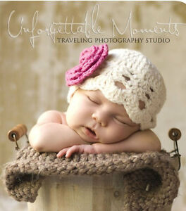 Newborn-Hat-Baby-Girl-Photo-Prop-Photography-Handmade-Cream-Pink-Flower