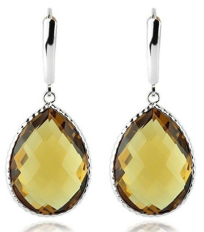 14K Yellow Gold Gemstone Earrings With Large Pear Shaped Blue Topaz